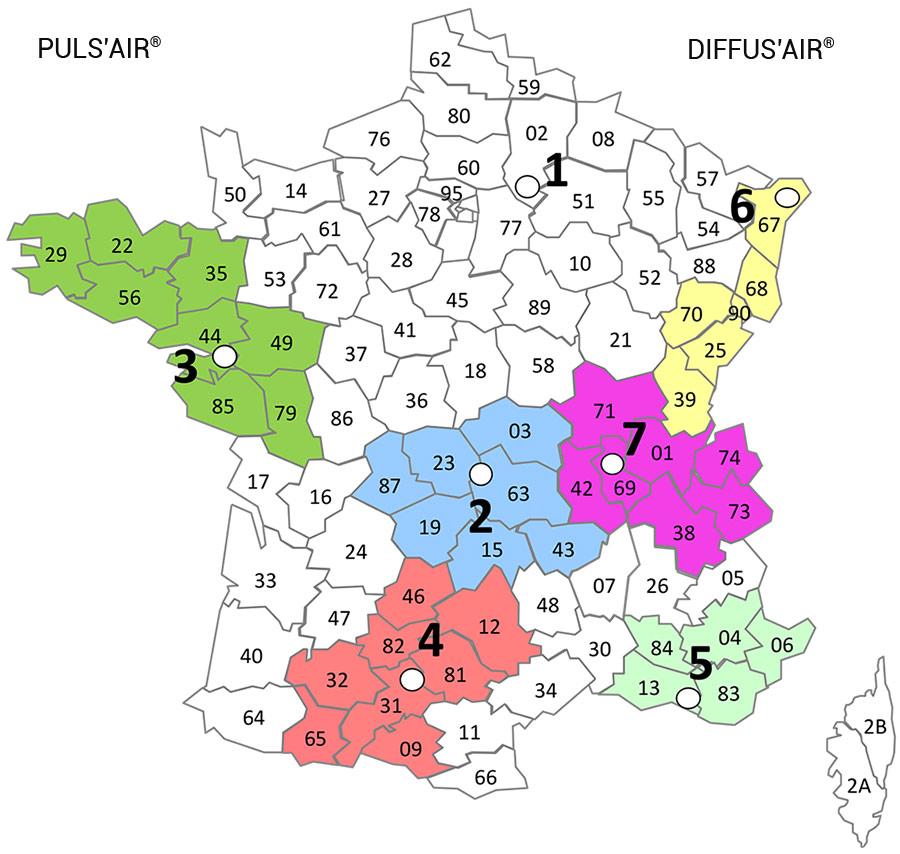 Carte réseau distribution gaines métalliques perforées PULSAIR - DIFFUSAIR